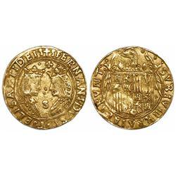Seville, Spain, double excelente, Ferdinand-Isabel, quatrefoil with daggers in corners at top, mintm