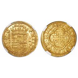 Segovia, Spain, milled 1 escudo, Philip III, 1607C, king's name as PHILIP, rare, encapsulated NGC MS