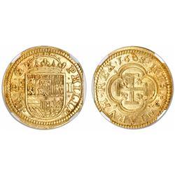 Segovia, Spain, milled 1 escudo, Philip III, 1608C, rare, encapsulated NGC MS 62.