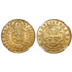 """Seville, Spain, milled 8 escudos, Philip V, 1704P, """"8 S 8 P"""" variety, encapsulated NGC MS 62."""