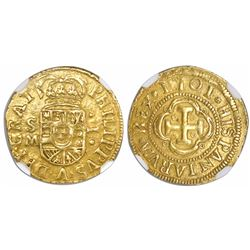 Seville, Spain, milled 1 escudo, Philip V, 1701M, unlisted variety with dots flanking denomination o