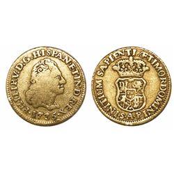 Seville, Spain, bust 1 escudo, Philip V, 1736AP, rare.