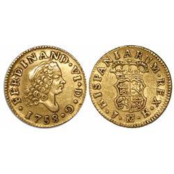 Madrid, Spain, bust 1/2 escudo, Ferdinand VI, 1758JB.