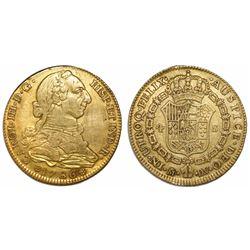 Madrid, Spain, bust 4 escudos, Charles III, 1786DV.