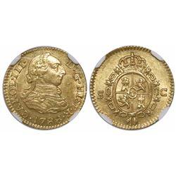 Seville, Spain, bust 1/2 escudo, Charles III, 1788C, encapsulated NGC AU 58.