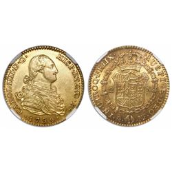 Madrid, Spain, bust 2 escudos, Charles IV, 1799MF, encapsulated NGC AU 58.