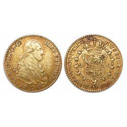 Madrid, Spain, bust 2 escudos, Charles IV, 1800/790MF.