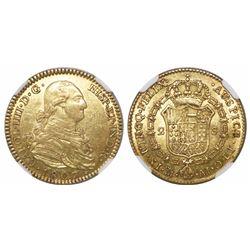 Madrid, Spain, bust 2 escudos, Charles IV, 1807AI, encapsulated NGC AU 58.