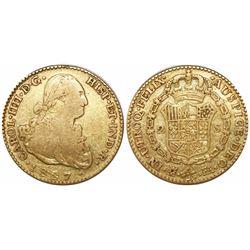 Madrid, Spain, bust 2 escudos, Charles IV, 1807FA.