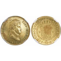 Cadiz, Spain, bust 2 escudos, Ferdinand VII (laureate bust), 1812CI, small mintmark, encapsulated NG