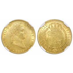 Seville, Spain, bust 2 escudos, Ferdinand VII, 1827JB, encapsulated NGC MS 62.