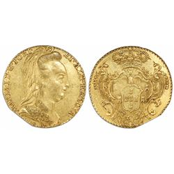 "West Indies ""joe"" (imitation of a Rio, Brazil, 6400 reis, Maria I, 1788-R)."