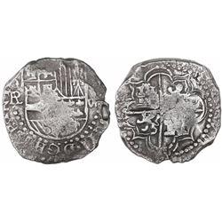 Potosi, Bolivia, cob 8 reales, (1618)PAL, rare, Grade 1.