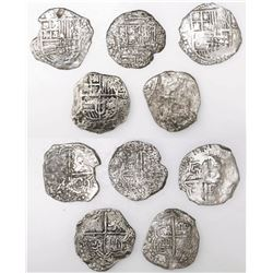 Lot of five Potosi, Bolivia, cob 8 reales, Philip III, various assayers (where visible), all Grade 3