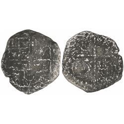 Potosi, Bolivia, cob 4 reales, Philip III, assayer not visible, Grade-3 or -4 quality (4 points), wi