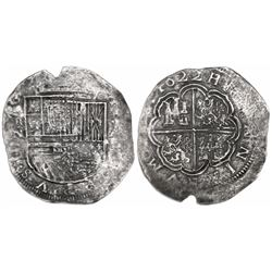 Nuevo Reino Colombia cob 8 reales, 1622, assayer A to right, mintmark RN to left, Atocha