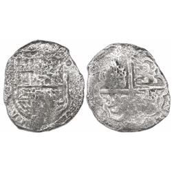 Seville, Spain, cob 8 reales, Philip III, assayer not visible, Grade 3.