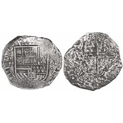 Cartagena, Colombia, cob 8 reales, Philip IV, assayer A to right, mintmark RN to left, no pomegranat