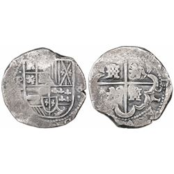 Potosi, Bolivia, cob 8 reales, Philip IV, assayer T (early 1630s).