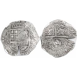 Potosi, Bolivia, cob 8 reales, (1650-51)O, with crowned-L countermark on cross, encapsulated NGC gen