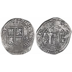 Potosi, Bolivia, cob 8 reales, 1652E transitional Type IV/A, ex-Mastalir.