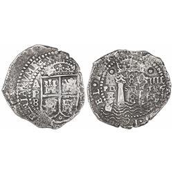 Potosi, Bolivia, cob 8 reales, 16(52)E transitional Type IV/A, ex-Mastalir.