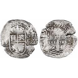 Potosi, Bolivia, cob 8 reales, (16)52E Transitional Type VIII/A, rare.