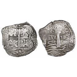 Potosi, Bolivia, cob 4 reales, 1653E, rotated-4 denomination.