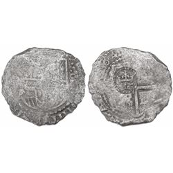 Potosi, Bolivia, cob 8 reales, 164(?), assayer not visible, with crowned-L countermark on cross.