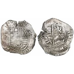 Potosi, Bolivia, cob 8 reales, (16)50O, with TWO crowned-L countermarks (rare) on cross.