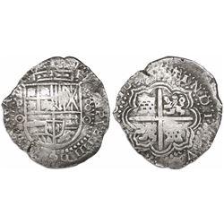 Potosi, Bolivia, cob 8 reales, 165(0)O, no countermark (rare).