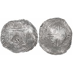 Potosi, Bolivia, cob 8 reales, 1651O, with crown-alone countermark on shield.