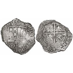 Potosi, Bolivia, cob 8 reales, 165(0-1)O, with crowned-O countermark on cross.