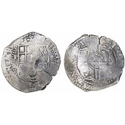 Potosi, Bolivia, cob 8 reales, 1651E, with crowned-dot-F-dot (four dots) countermark on cross (very