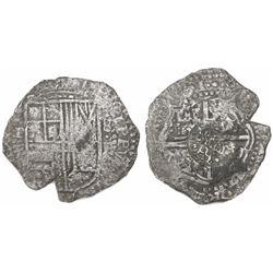 Potosi, Bolivia, cob 8 reales, (16)51E, with crowned-dot-PH-dot countermark (rare) on cross.