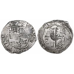 Potosi, Bolivia, cob 8 reales, (16)51E, modern 5, with crowned-L countermark on cross.