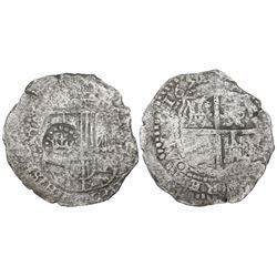 Potosi, Bolivia, cob 8 reales, 1651(O or E), with crown-alone countermark on shield.