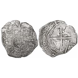 Potosi, Bolivia, cob 8 reales, 1651(O or E), with crowned-? countermark on shield.
