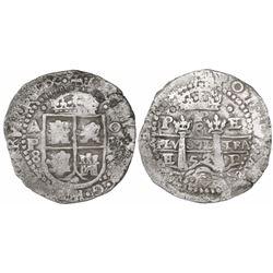 Potosi, Bolivia, cob 8 reales, 1652E Transitional Type VII/A, rare.