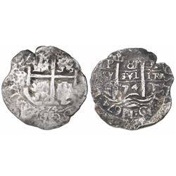 Potosi, Bolivia, cob 8 reales, 1674E.
