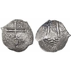 Potosi, Bolivia, cob 8 reales, 1679/8C/E, rare.