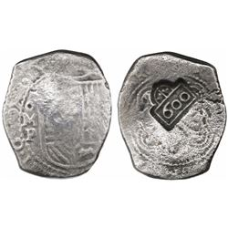 Mexico City, Mexico, cob 8 reales, 1654P, with crowned-600 countermark of Brazil (600 reis, 1663) on