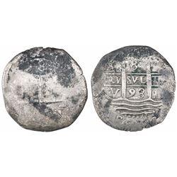Lima, Peru, cob 8 reales, 1693V.