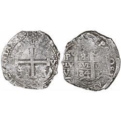 Potosi, Bolivia, cob 8 reales, 1684V.