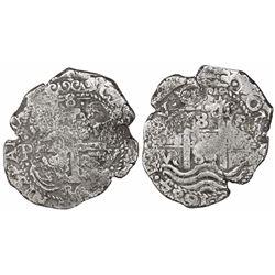 Potosi, Bolivia, cob 8 reales, 1684V+VR, very rare.