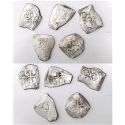 Lot of five Mexico City, Mexico, cob 4 reales, Philip V, assayer J (where visible).