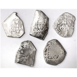 Lot of five Mexico City, Mexico, cob 4 reales, Philip V, assayer J (where visible).