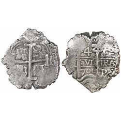 Potosi, Bolivia, cob 4 reales, 1700F, rare.
