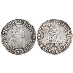 Brabant, Spanish Netherlands (Antwerp mint), portrait ducatoon, Philip IV, 1661.
