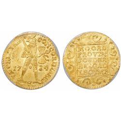 Utrecht, United Netherlands, gold ducat, 1724, encapsulated PCGS MS63.